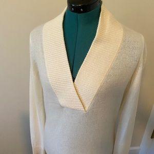 Madison White Cashmere Sweater Deep V Neck